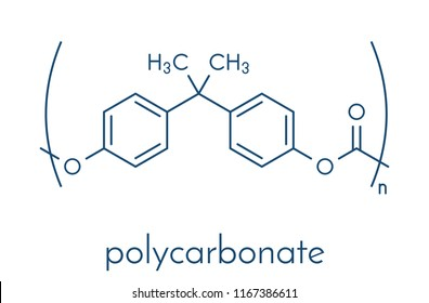 Polycarbonate (PC) plastic, chemical structure. Made from phosgene and bisphenol A. Skeletal formula.