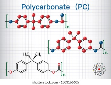 Polycarbonate (PC) thermoplastic polymer molecule. Sheet of paper in a cage. Structural chemical formula and molecule model. Vector illustration