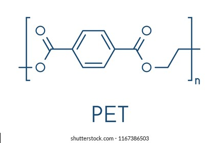 Polyethylene terephthalate (PET, PETE) polyester plastic, chemical structure. Mainly used in synthetic fibers and plastic bottles. Skeletal formula.