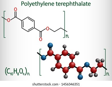 Polyethylene terephthalate or PET, PETE polyester, thermoplastic polymer molecule. Structural chemical formula and molecule model. Vector illustration