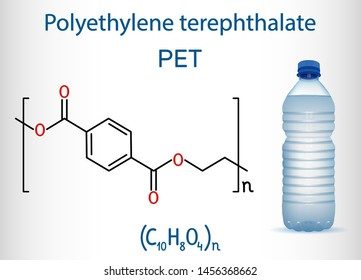 Polyethylene terephthalate or PET, PETE polyester, thermoplastic polymer molecule with plastic bottle. Structural chemical formula. Vector illustration