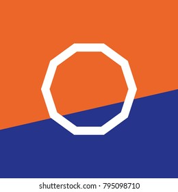 polygon of 10 equal sides decagon in vector and blue and orange background