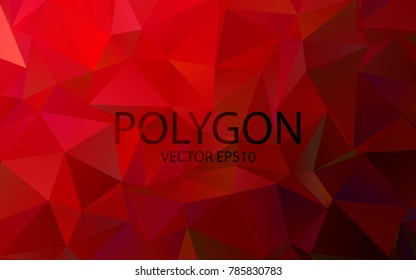 Polygon Abstract Backgrounds. Dark Red Color vector banner. Vector eps 10.