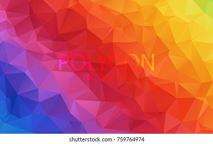 Polygon Abstract Backgrounds. Rainbow Color vector banner.