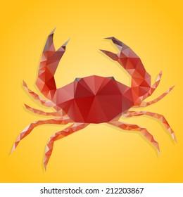 Polygon abstract illustration of crab