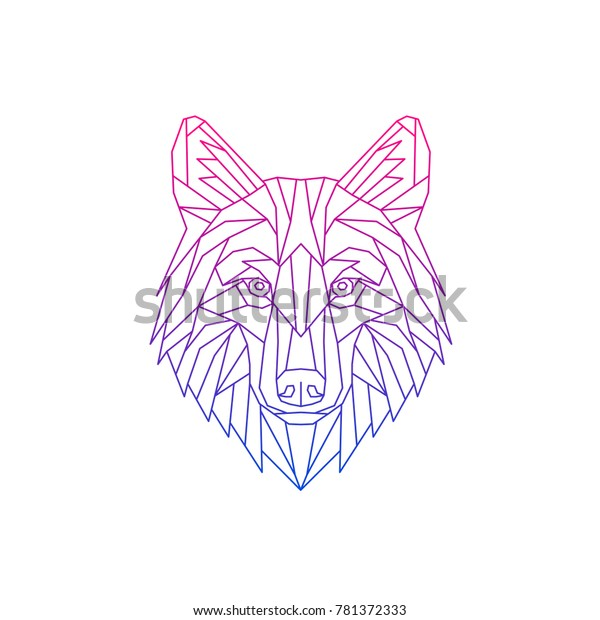 Polygon Abstract Vector Wolf Geometric Linear Stock Vector