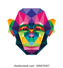 POLYGON ANIMAL PET ZOO MONKEY POLYGONAL POLY ICON LOGO TEMPLATE
