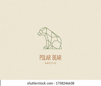 Polygon bear baby silhouette. Low poly animal. Abstract geometric logo icon. Triangle graphic, origami style. Vector illustration for tattoos, posters, t-shirt prints, web design, postcards