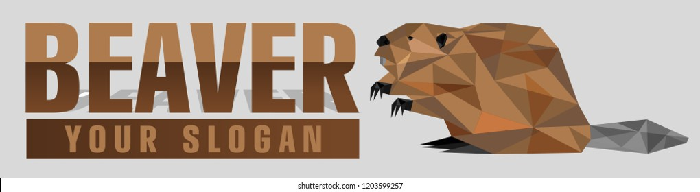 Polygon beaver logotype in poly art style. Vector isolated logo animal. Modern professional beaver logo for a construction business, engineering company or sport team.  For Label, Badge, Icon.