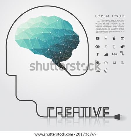 polygon brain and creative head wire with business icon vector
