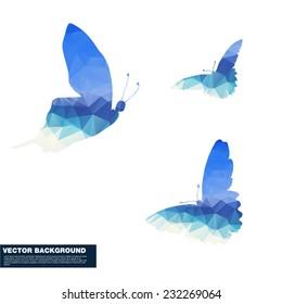 Polygon butterfly vector illustration.