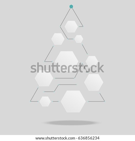 Polygon Christmas Tree Template Add Icon Stock Vector Royalty Free