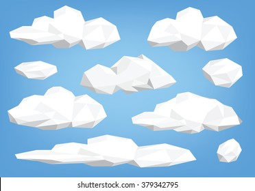 polygon cloud collection, low poly cloud illustration set