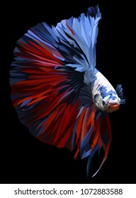 Polygon drawing of  betta or simese fighting fish illustation.