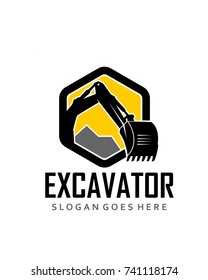 Polygon excavator logo template vector