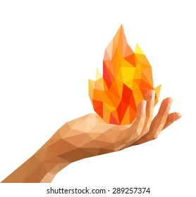 polygon fire flame flames natural and abstract in his hand Prometheus.