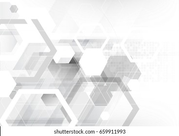 Polygon geometric technology background, hexagon back and white abstact background
