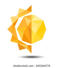 Polygon Half of Sun and Moon Icon on white background