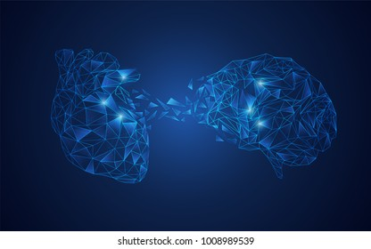 polygon heart and brain in futuristic, concept of balance in human