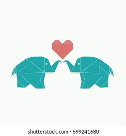 Polygon illustration of elephant family , vector triangle design