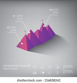 Polygon infographics background template or layout with line icons. Suitable for presentations, reports, analysis. Eps10 vector illustration.