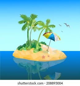 Polygon island in the ocean