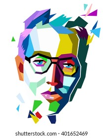 Polygon origami party disco hipster man's face in glasses. Stock vector colorful geometric flat graphics white isolated. Modern graphics creative poster easy all editable