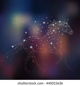 Polygon outline illustration of a glowing horse, geometrical triangles, low poly wire construction concept, linear connection