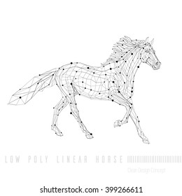 Polygon outline illustration of a horse, geometrical triangles, low poly wire construction concept, linear connection