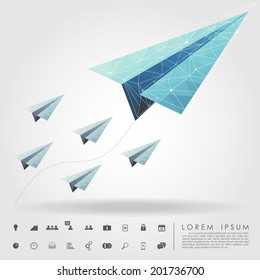 polygon paper plane on leader concept with business icon vector