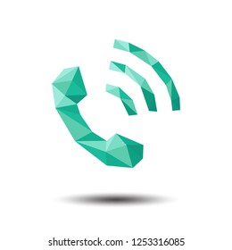 Polygon Phone Call Icon on white background