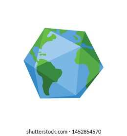 Polygon  Quadrangle Earth planet. Low poly game cube. Logo, icon naturally ecological symbol-vector illustration