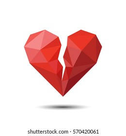 Polygon Red Broken Heart Icon For Valentine's Day.