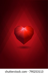 Polygon red hearts on red background Valentine's Day concept for background. Wallpaper, flyers, invitation, posters, brochure, banners.