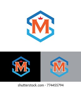 polygon shape letter s,m logo