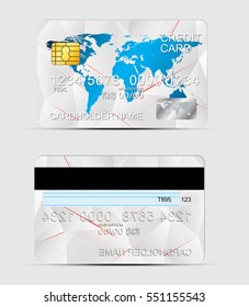 Polygon texture realistic credit cards templates vector illustration