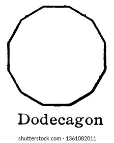 The polygon that shows 10 sides, called it as decagon. A regular decagon of all sides of the composite length and each internal angle is always the same, vintage line drawing or engraving illustration
