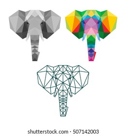 POLYGON TRIANGLE ELEPHANT POLYGONAL LOGO ICON TEMPLATE