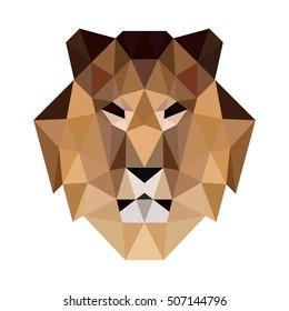 POLYGON TRIANGLE HEAD LION  POLYGONAL LOGO ICON TEMPLATE