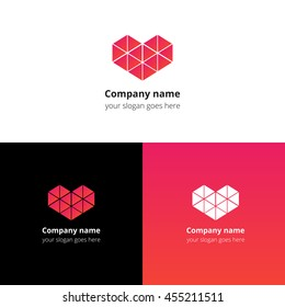 Polygon triangle heart logo, icon, sign, emblem vector template. Abstract symbol and button with red-pink color trend gradient for service or company on white, black and gradient background.