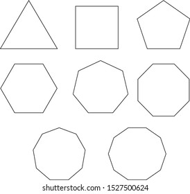 polygon, triangle, quadrilateral, pentagon, hexagon, heptagon, octagon, nonagon, decagon