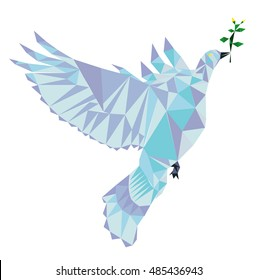Polygon Vector dove of peace.  Peace pigeon with green brush symbol of peace.