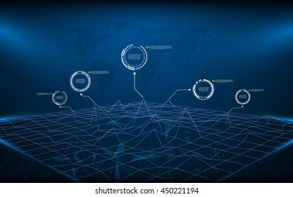 polygon wireframe landscape technology innovation concept background