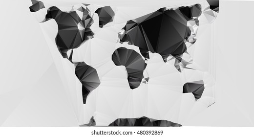 Polygon World Map With Ocean And Ground With Shadows
