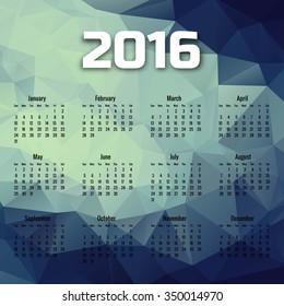 Polygonal 2016 calendar colorful vector background