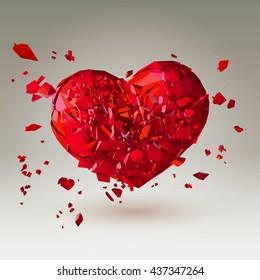 Polygonal 3D broken heart on warm low poly background