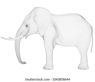Polygonal 3D elephant. The view of the elephant on the side. The mesh cover of the elephant is black and white. Vector illustration.