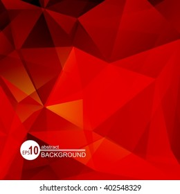 Polygonal abstract background with bright red triangles.