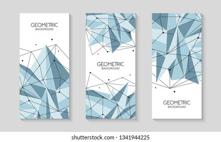 Polygonal abstract futuristic template, low poly sign on white background. Vector lines, dots and triangle shapes, connecting network. Brochure template, cover layout, magazine, flyer design.