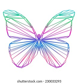 polygonal abstract gradient colored butterfly silhouette drawn in one continuous line isolated on a white background for design card, invitation, banner, book, scrapbook, t-shirt, poster, album etc.